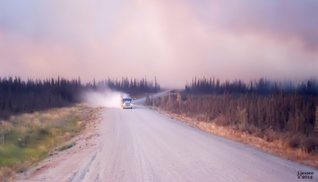 Truck Driving through Wildfire Smoke - Dalton Highway, Alaska 2004