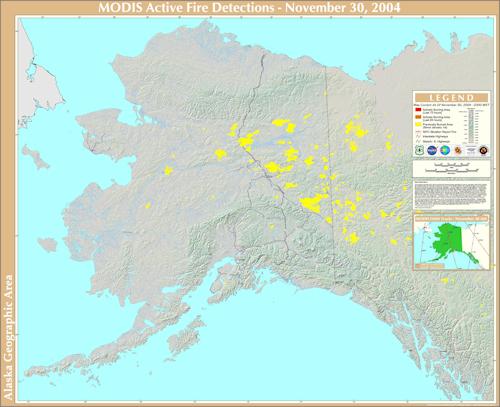 Map of Alaska Wildfires 2004