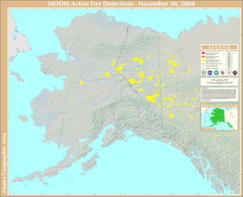 Map of Alaska Wildfires 2004