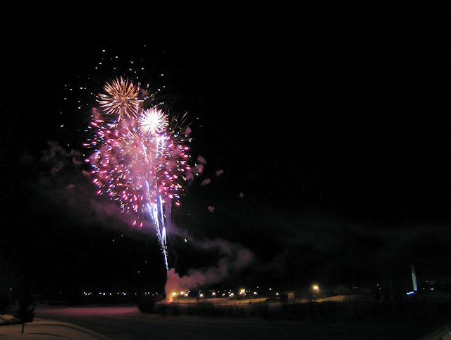 Fireworks in winter