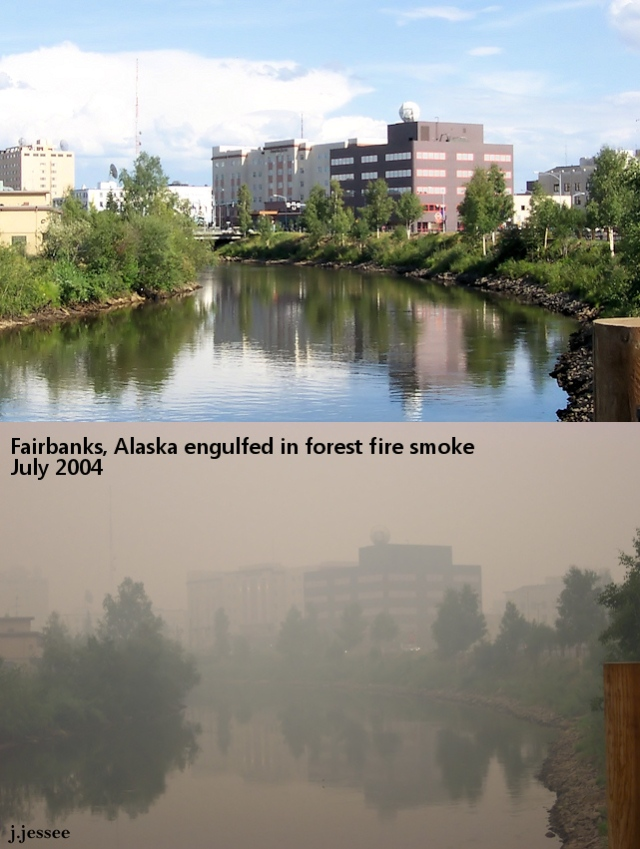 Forest fire smoke in Fairbanks, Alaska - July 2004