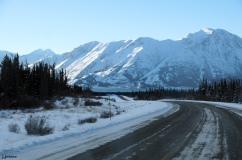 Driving toward Kluane Lake, Yukon Territory, Canada