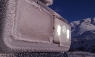 Ice covered head lights