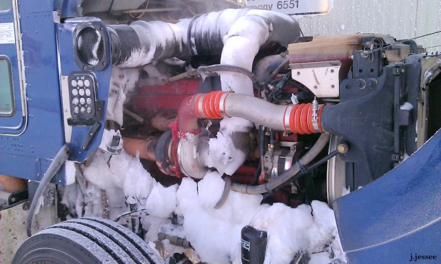 The engine after going through snow drifts