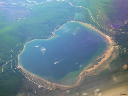 This is Hardling Lake with the Richardson Highway at the top of the photo (looking south).