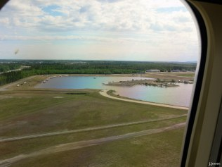 And finally, we land at the Fairbanks International Airport with the float ponds next to the runway.
