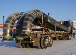 Crude oil pipe on truck