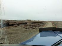 Those are culverts (on the left) that were used to try to save the road, but they didn't work.