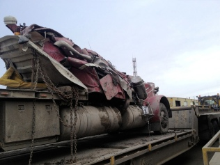 Smashed truck