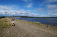 "This shows Jack standing on the 7 mile long ""Moose Creek Dam,"" the levee."