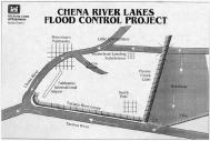 The floodgates are in the top right corner of this map. We were a mile or two away from them on what's labeled here as the Moose Creek Dam, the long straight levee that leads to the Tanana River. Map from US Army Corps of Engineers.