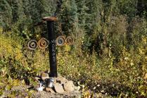 There are several nice roadside memorials on Alaskan highways, but we both agree this is the best one we've seen.