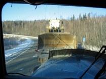 Pushing a big Volvo loader.