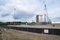 LNG tank at Fairbanks Natural Gas under construction. The large crane on the far right picks up the panels first.
