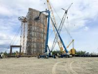One cement panel is 95 feet long and 8 feet wide and it runs the full height of the tank.