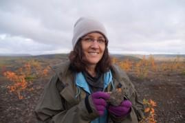 Judy found some orange lichen.